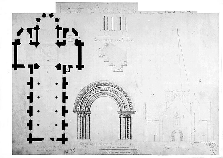 Plan général, élévation du porche et détail du portail