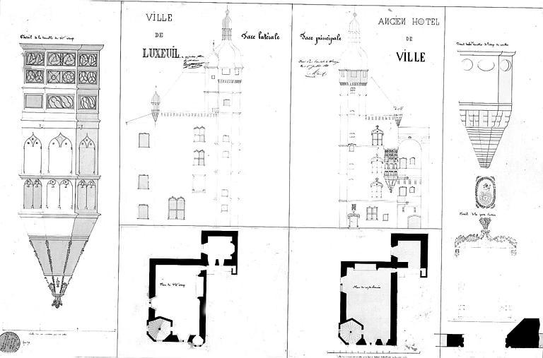 Dessin à la plume : Plan, élévations des façades latérale et principale et détail des tourelles