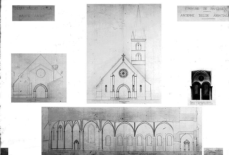 Coupe longitudinale du sanctuaire restauré, élévation principale (état actuel et restaurée), fragment de la restauration intérieure