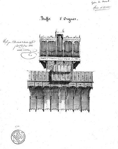 Dessin à la mine de plomb : Buffet d'orgues