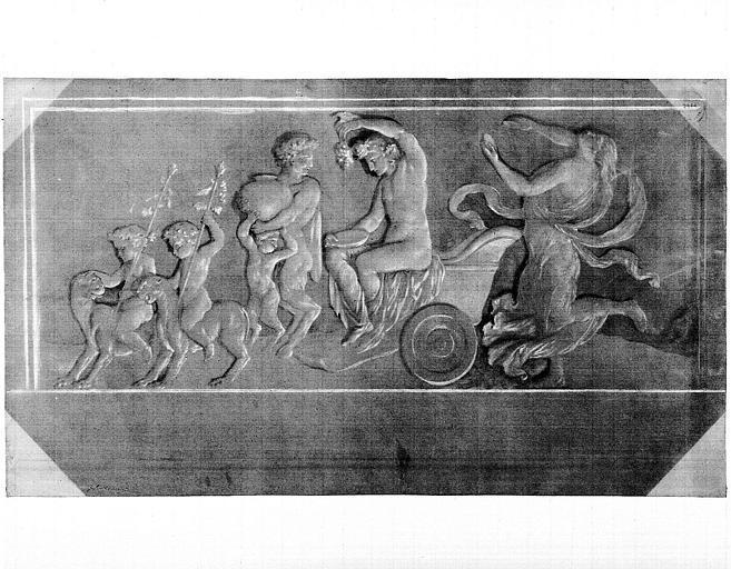 Dessin : Frise en grisaille, l'Automne (?) (d'après les peintures de Lesueur)