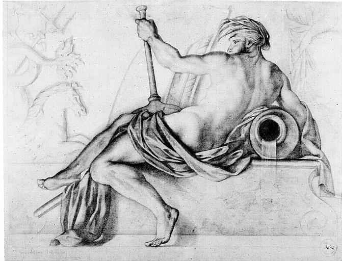 Dessin : Neptune (d'après les peintures de Lesueur)