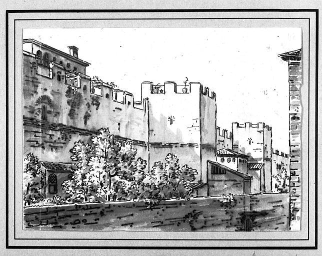 Dessin à la plume et lavis : Paysage d'Italie, remparts de ville