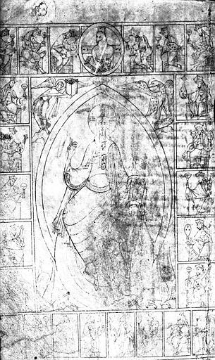 Folio d'un manuscrit (recto) : Christ en majesté dans sa mandorle, entouré des vingt-quatre vieillards de l'Apocalypse