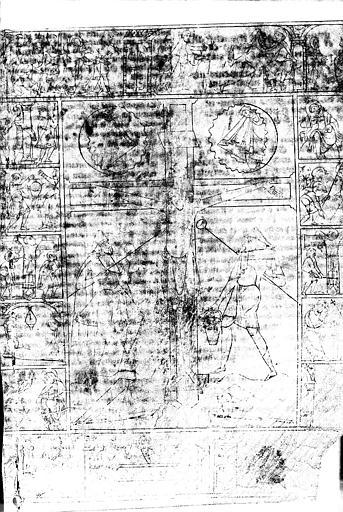 Folio d'un manuscrit (recto) : La Crucifixion entourée des scènes de la Passion