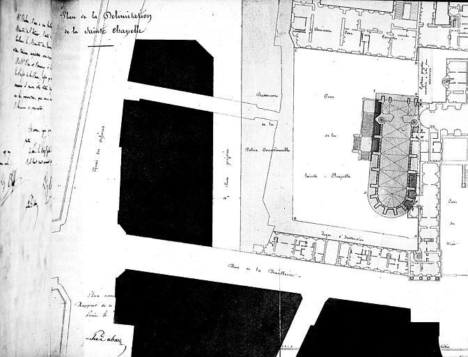 Plan de la délimitation de la Sainte Chapelle
