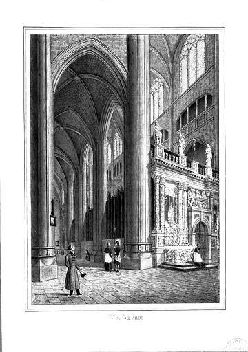 Lithographie : Vue du jubé et du déambulatoire nord (pl. 4)