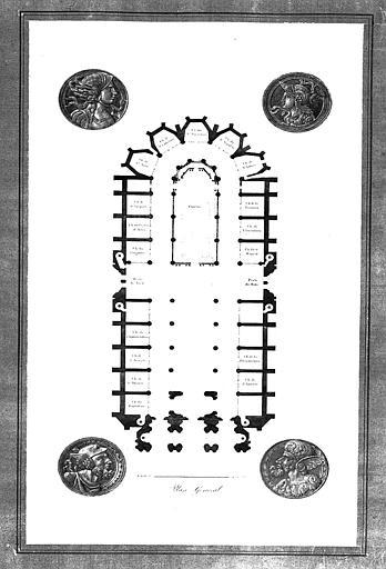 Plan général et quatre médaillons (pl. 7)