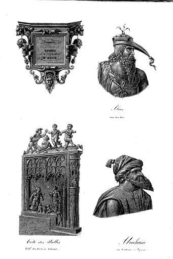 Lithographie : Fragments des boiseries du choeur, Abnez avec son arc, tête des stalles côté du nord en entrant,  Abraham en costume de guerre (pl. 8)