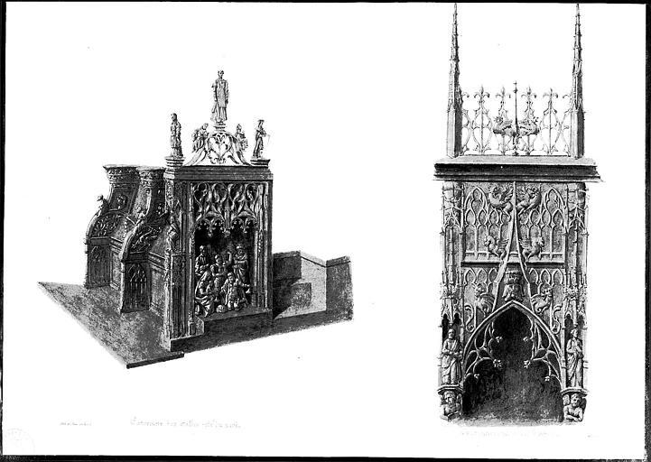 Lithographie aquarellée : Extrémité des stalles du côté nord et couronnement d'un panneau (pl. 10)