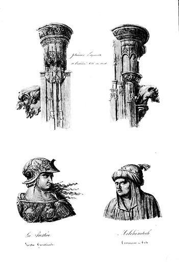 Lithographie aquarellée : Plusieurs fragments de l'extérieur des stalles côté nord représentant la Justice (vertu cardinale), Melchissédec (couronne en tête), (pl. 11)
