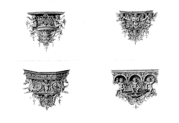 Lithographie aquarellée : Divers cul-de-lampes ornementaux des boiseries du choeur (pl. 12)