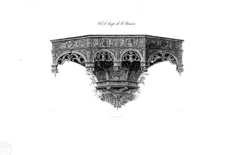 Lithographie aquarellée : Cul-de-lampe de la boiserie du choeur (pl. 13)