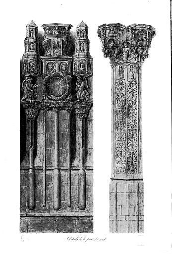 Lithographie aquarellée : Détails de la porte du midi (pl. 14)