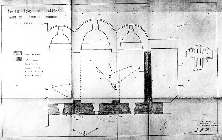 Projet de consolidation du transept sud : Plan