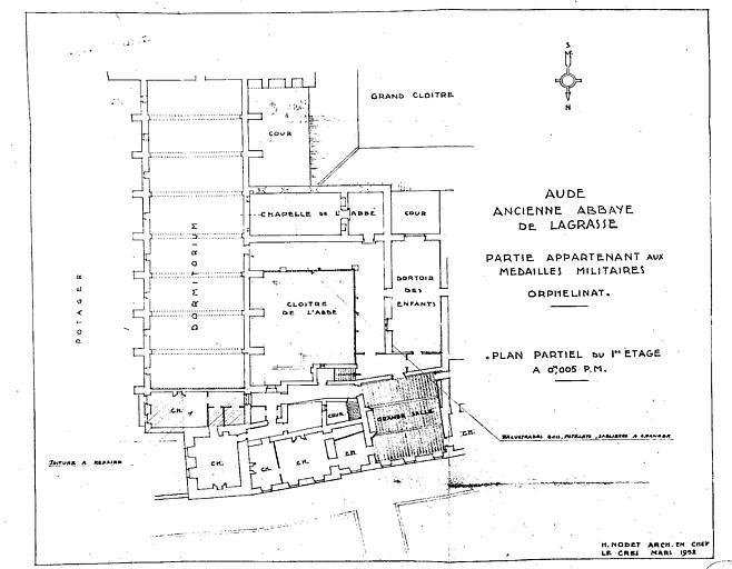 Plan partiel du 1e étage de l'orphelinat (partie appartenant aux médaillés militaires)