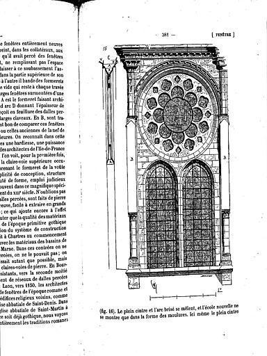 Coupe et élévation de la fenêtre haute de la nef