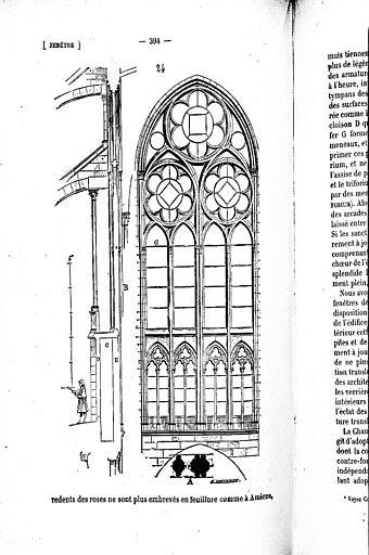 Coupe et élévation d'un type de fenêtre du milieu du 13e siècle