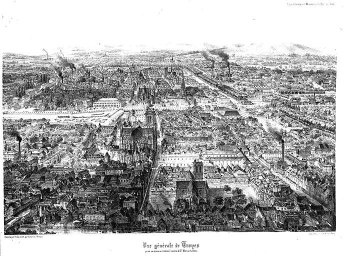 Lithographie : Vue générale de la ville prise au-dessus de l'ancien couvent de Saint-Martin-ès-Aires