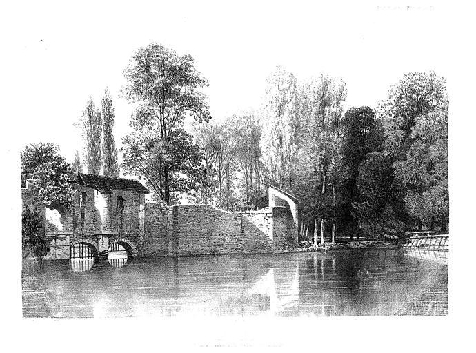 Lithographie : Tours de Chaillouet, du Saut-Périlleux et de Charlemagne