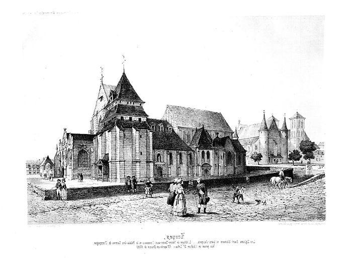 Lithographie : Vue générale avec vue sur d'autres édifices