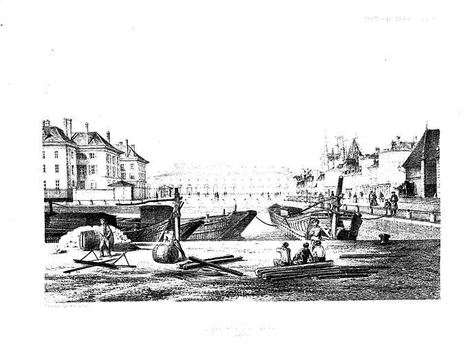 Lithographie : Vue générale de la place de la Préfecture