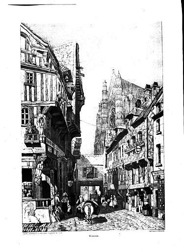 Lithographie : Vue générale du carrefour de la rue de la Taillerie et de la cathédrale dans le fond