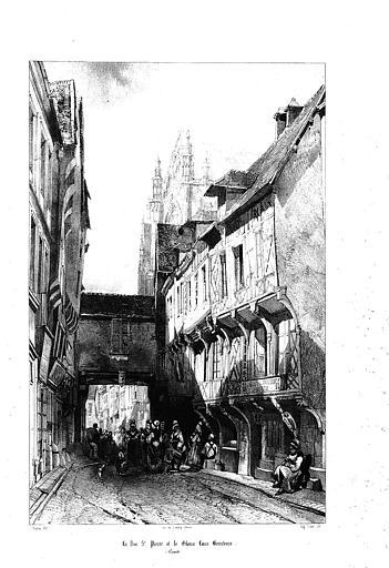 Lithographie : Vue générale de la rue Saint-Pierre et de la cathédrale dans le fond