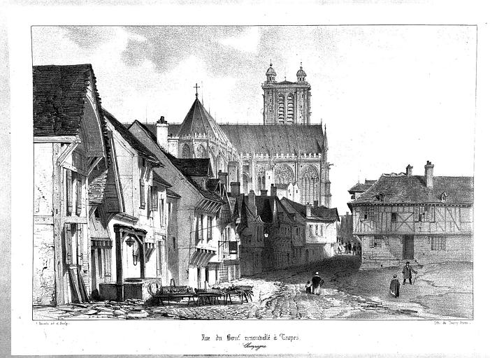 Lithographie : Abside et transept nord vus de la rue aux Boeufs