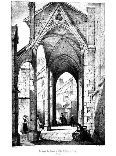 Lithographie : Vue latérale du porche nord