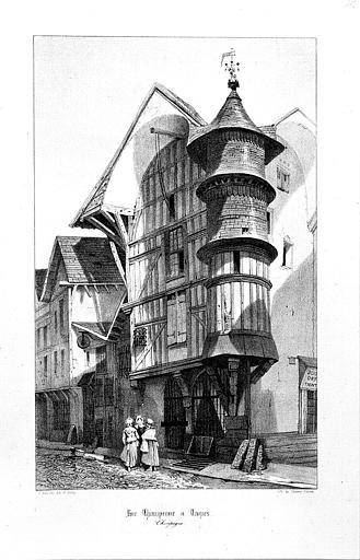 Lithographie : Façades sur rue et tourelle de l'Orfèvre