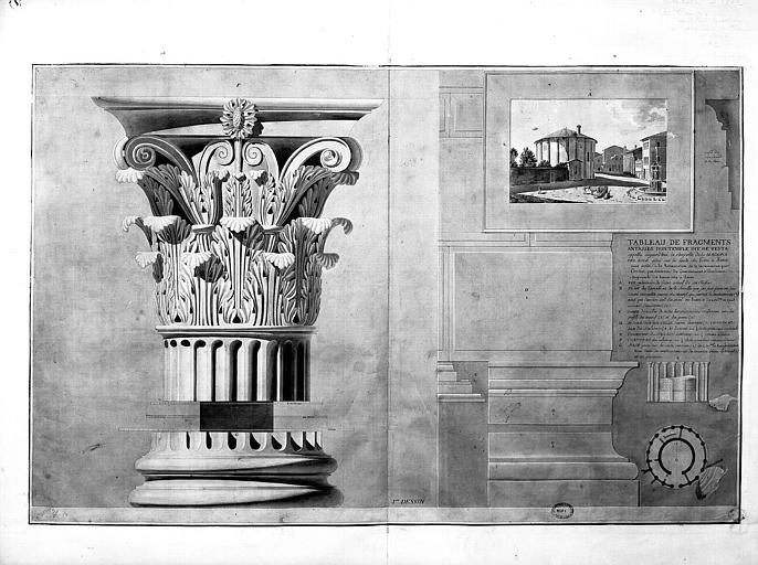 Chapiteau corinthien, vue générale du temple (tableau) et plan