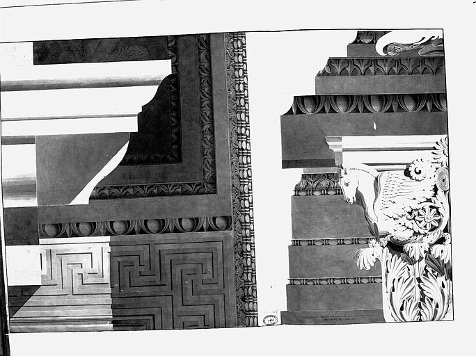 Dessin :détails de l'ornementation architecturale