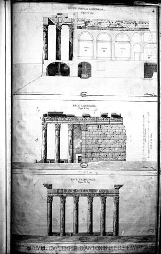 Coupe longitudinale, élévations de la façade latérale et de la façade principale