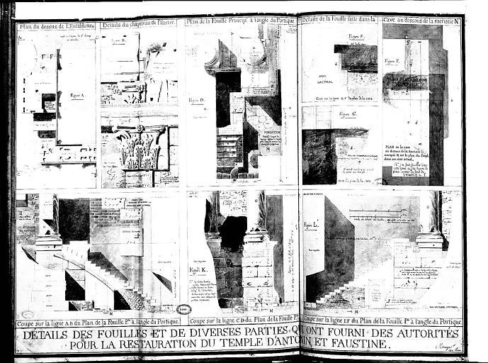 Détails des fouilles et des diverses parties qui ont fourni des autorités pour la restauration du temple