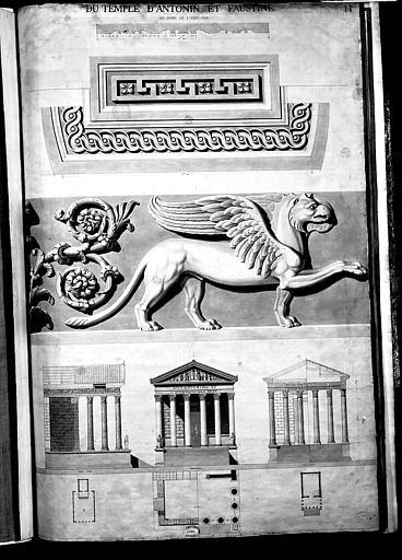Trois dessins : Détails d'ornements géométriques (1), détail de la frise avec un griffon (2), plan, coupe et élévation du temple (3)