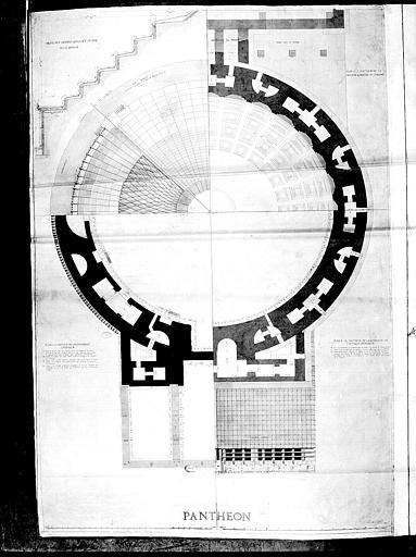 Plan de la coupole à la hauteur de la 2e corniche extérieure, de la corniche de l'attique et de l'entablement intérieur