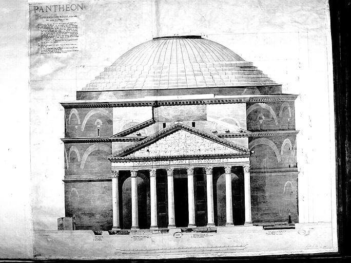 Elévation (état actuel) et fouilles faites autour du portique en 1801
