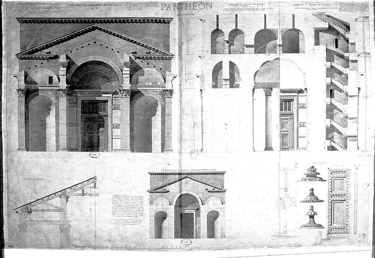 Elévation et coupes sur la largeur du portique, détails de la porte