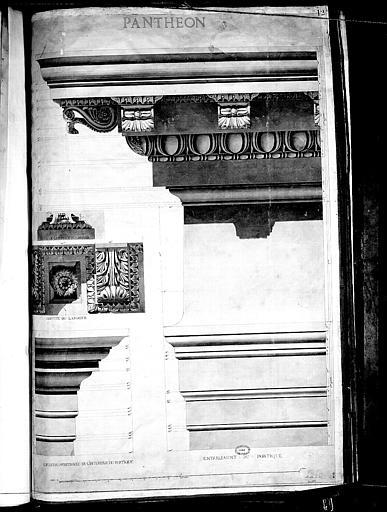 Dessin : Détails de la corniche et de l'entablement du portique