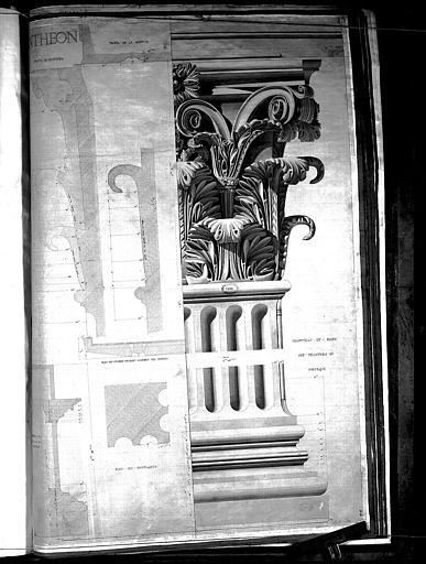Dessin : Chapiteau corinthien et base des pilastres du portique