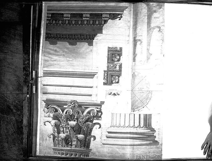 Dessin : Détails de l'ordre corinthien (chapiteau, base de colonne, caissons, corniche)