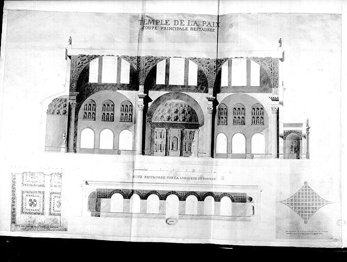 Coupe principale de l'édifice et coupe longitudinale du portique (restaurée)