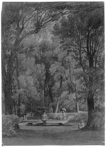 Dessin (pierre noire et rehauts de craie jaune sur papier brun) : Le jardin de la villa Torlonia