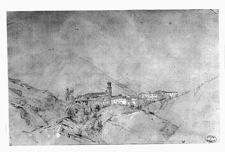 Dessin (crayon noir et rehauts de gouache blanche) : Le site du village de la Cava près de Naples