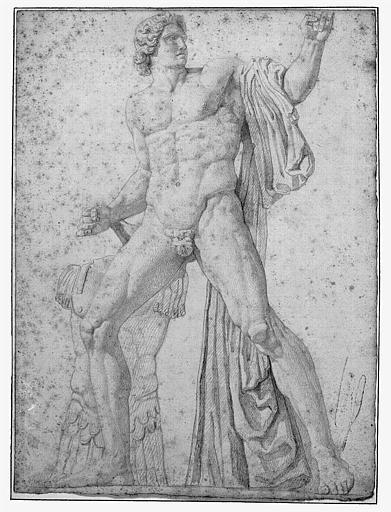 Dessin au crayon noir : Un des Dioscures de la place du Quirinal à Rome