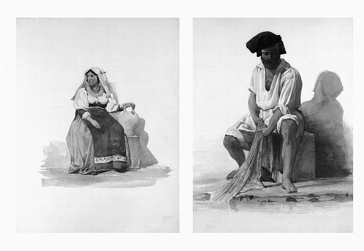 Etudes de costumes : Alvito de Napoli (1), Pescator Napoletano (2)