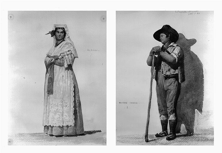 Etudes de costumes : Albano (7), Pastore Cucard (8)