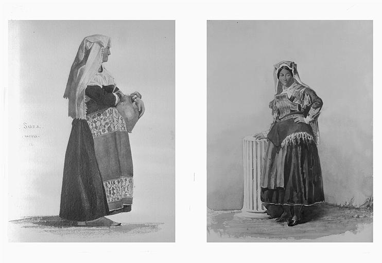 Etudes de costumes : Sora (Napoli) (12), Cerbaro (près Soubiacco) (13)
