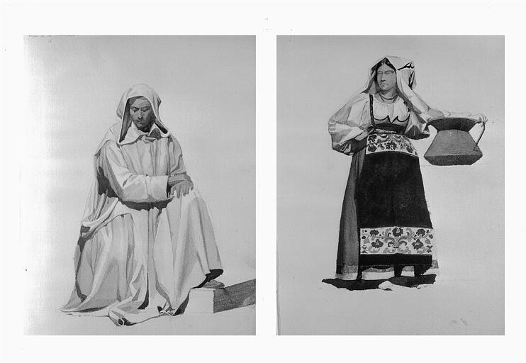 Etudes de costumes : Moine de la Chartreuse (16), Alvito (Napoli) (17)